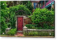The Red Garden Gate Acrylic Print by Frank J Benz