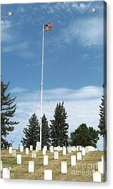 Flag At Custer National Cemetery Acrylic Print by Charles Robinson