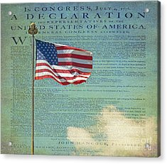 Flag - Declaration Of Independence -  Luther Fine Art Acrylic Print by Luther Fine Art