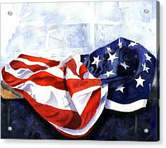 Flag In  The Window Acrylic Print by Suzy Pal Powell