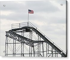 Flag Mounted On Seaside Heights Roller Coaster Acrylic Print by Melinda Saminski