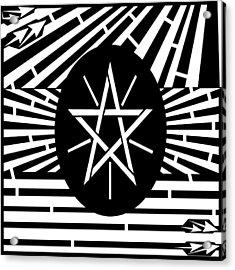 Flag Of Ethiopia Maze  Acrylic Print by Yonatan Frimer Maze Artist
