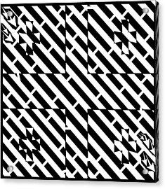 Flag Of Georgia Maze  Acrylic Print by Yonatan Frimer Maze Artist