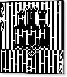 Flag Of Gibraltar Maze  Acrylic Print by Yonatan Frimer Maze Artist
