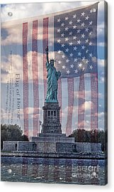 Liberty And Flag Of Honor Acrylic Print by Priscilla Burgers