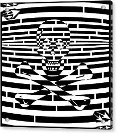 Flag Of Jolly Roger Maze Acrylic Print by Yonatan Frimer Maze Artist