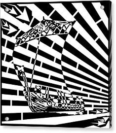Flag Of Tynwald Maze Aka Isle Of Man Parliament Acrylic Print by Yonatan Frimer Maze Artist