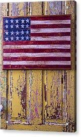 Flag On Old Yellow Door Acrylic Print