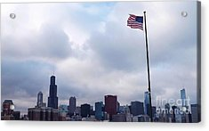 Flag Over City Acrylic Print by Brigitte Emme