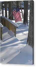 Flag Over Morning Snow Acrylic Print by Pamela Hyde Wilson