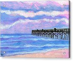 Flagler Beach Pier Acrylic Print by Roz Abellera Art