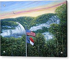Flags At Sunset Acrylic Print by Fran Brooks