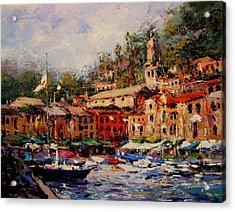 Flags Flyin In Portofino Acrylic Print by R W Goetting