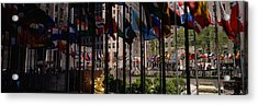 Flags In A Row, Rockefeller Plaza Acrylic Print