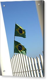 Flags In The Wind Acrylic Print by Frederico Borges