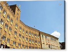 Flags On Building On Piazza Del Campo Acrylic Print by Sami Sarkis