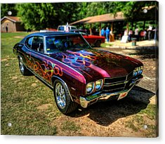 Flamed '70 Chevy Malibu 001 Acrylic Print by Lance Vaughn