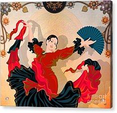 Flamenco Dancer Acrylic Print by Bedros Awak