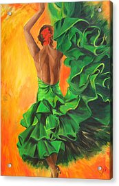 Flamenco Dancer In Green Dress Acrylic Print