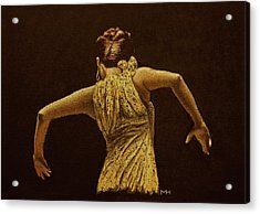 Flamenco Dancer In Yellow Dress Acrylic Print by Martin Howard