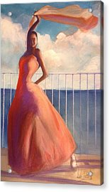 Flamenco Dancer Waving Scarf Acrylic Print