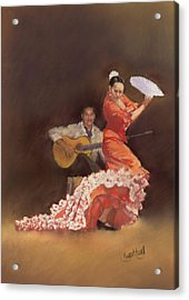 Flamenco Acrylic Print by Margaret Merry