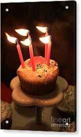 Flaming Birthday Cupcake Closeup Acrylic Print by Robert D  Brozek