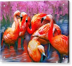 Flaming Flamingos Acrylic Print by Ted Azriel
