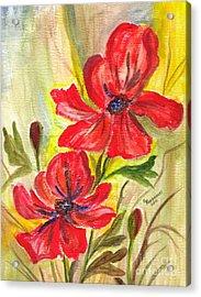 Flaming Garden Flowers Acrylic Print by Clementine Kondracki