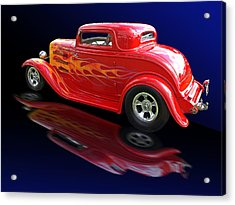Flaming Roadster Acrylic Print by Gill Billington