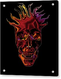 Flaming Skull Acrylic Print by Denise Beverly