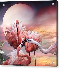 Flamingo Kiss - Sq Acrylic Print