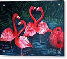 Flamingo Love. Inspirations Collection. Special Greeting Card Acrylic Print