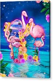Flamingo Shape Wbackground Acrylic Print
