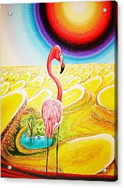 Acrylic Print featuring the painting Flamingo by Viktor Lazarev