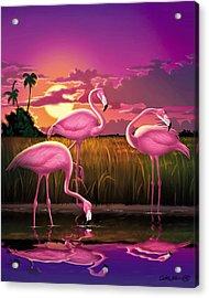 Flamingoes Flamingos Tropical Sunset Landscape Florida Everglades Large Hot Pink Purple Print Acrylic Print by Walt Curlee