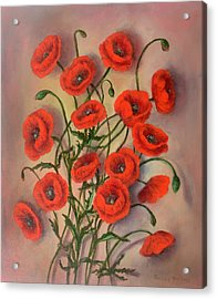Flander's Poppies Acrylic Print by Randy Burns
