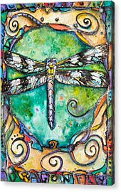 Flashy Dragonfly Children Of The Earth Series Acrylic Print by Patricia Allingham Carlson