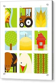 Flat Childish Rectangular Agriculture Acrylic Print by Popmarleo