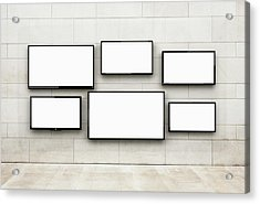 Flat Screens Hanging On A Wall Acrylic Print by Jorg Greuel
