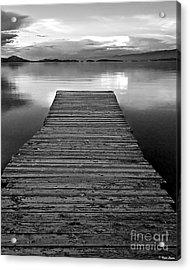Flathead Lake Dock Sunset - Black And White Acrylic Print by Brian Stamm