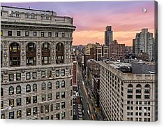 Flatiron Building At Sunset Acrylic Print by Susan Candelario