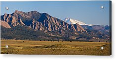 Flatirons And Snow Covered Longs Peak Panorama Acrylic Print
