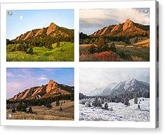 Flatirons Four Seasons With Border Acrylic Print