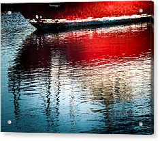 Red Boat Serenity Acrylic Print by Karen Wiles