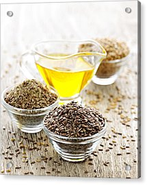 Flax Seed And Linseed Oil Acrylic Print by Elena Elisseeva
