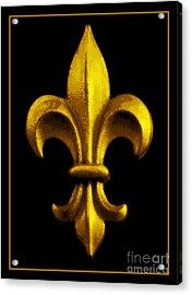 Fleur De Lis In Black And Gold Acrylic Print by Carol Groenen