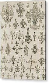 Fleur De Lys Designs From Every Age And From All Around The World Acrylic Print by Jean Francois Albanis de Beaumont