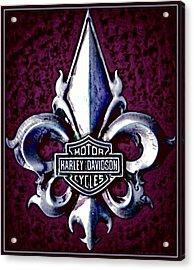 Fleurs De Lys With Harley Davidson Logo Acrylic Print by Danielle  Parent