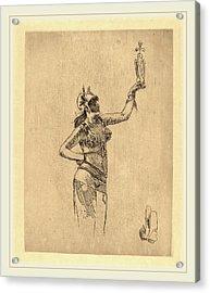 Félicien Rops Belgian, 1833-1898, The Falconer La Acrylic Print